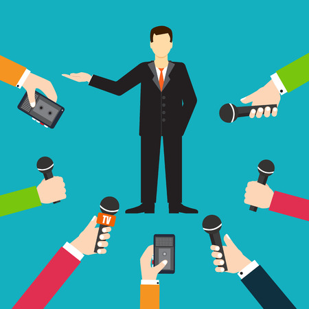 spokesperson: Interview a businessman or politician answering questions vector illustration - stock vector