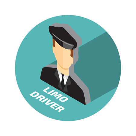 limo: Limo driver. Limousine driver icon. Flat style. Vector illustration Illustration