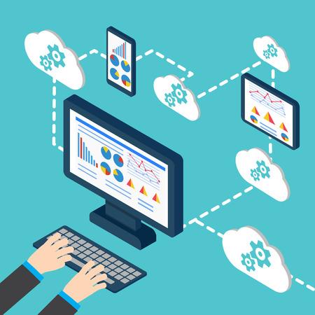 Analytics and programming vector. Web application optimization. Stock Illustratie