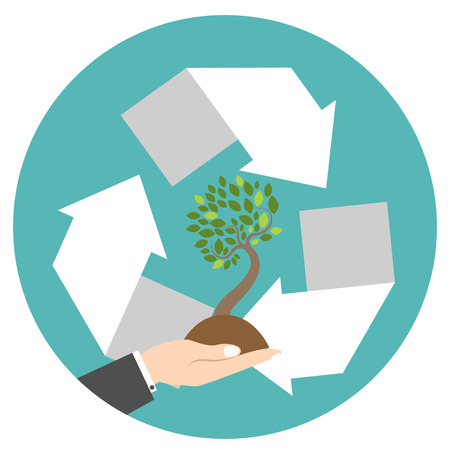 arrows circle: Recycling center icon with hand and tree. Flat style icon. Circle arrows. Vector illustration.