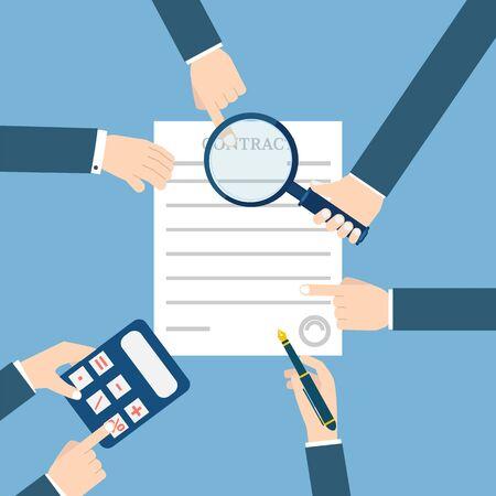 Voorbereiding zakelijk contract. Stock Illustratie
