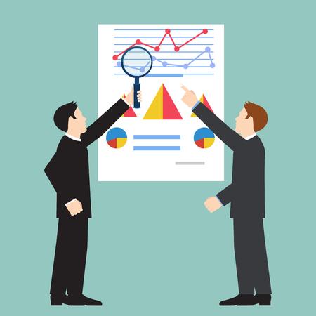 examiner: Businessman examining economic statistic, web analytics. Financial examiner. Vector illustration.