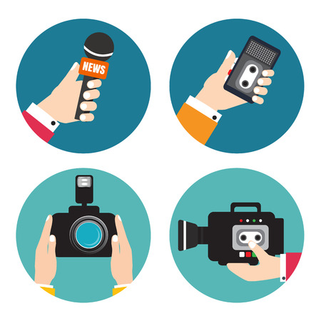 Set of icons with hands holding voice recorders, microphones, camera. Voice recorder vector. Live news. Press illustration.