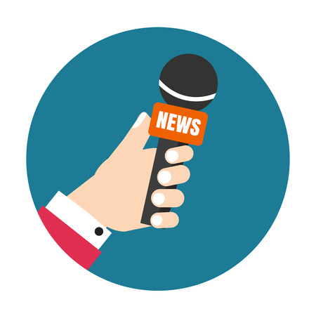 press news: Voice recorder vector icon. Live news. Press illustration.