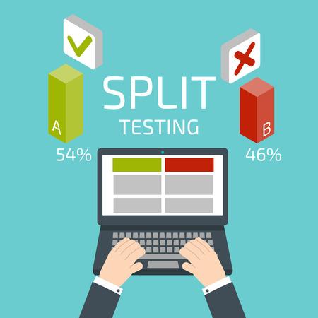 Split-Tests. Hände und Notebook Illustration