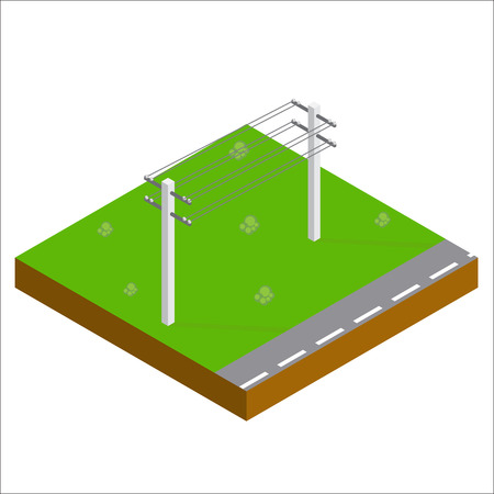 power grid: Support Power Lines Isometric