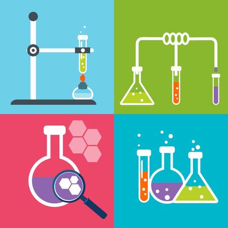qu�mica: Iconos planos Qu�mica establecen