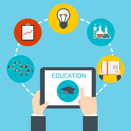 school exam: Man holding a tablet. Online education concept
