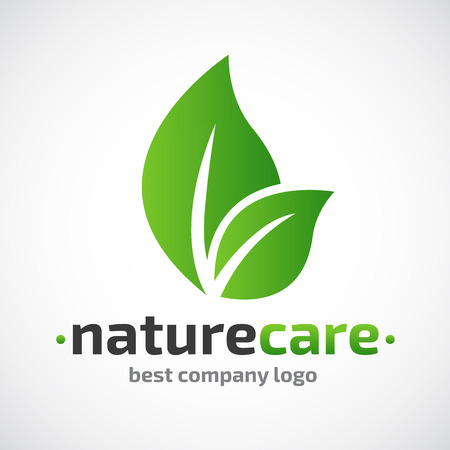 organic background: Abstract leafs care vector logo icon. Eco icon with green leaf