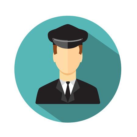 Conducteur de limousine. Limousine icône du pilote. Le style plat. Vector illustration Banque d'images - 43248799