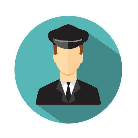 chauffeur: Limo driver. Limousine driver icon. Flat style. Vector illustration Illustration