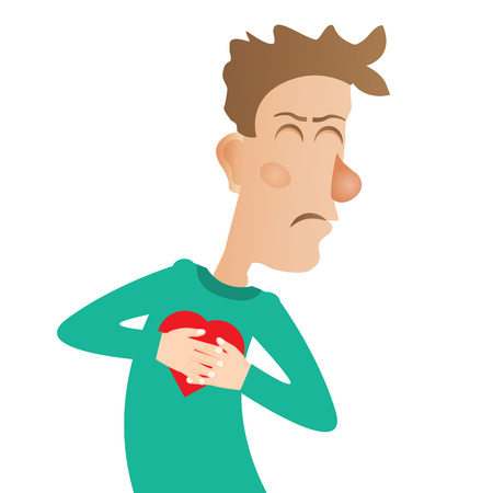 heart pain: Young man with strong heart attack. Vector illustration.
