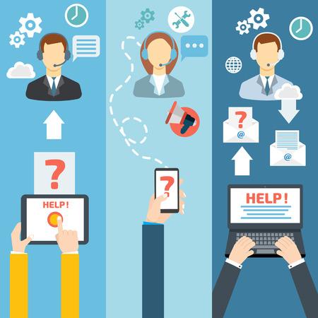 Wsparcie techniczne call center, contact płaskim banner zestaw ilustracji wektorowych