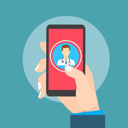 consulta médica: Salud móvil con el teléfono inteligente de la mano de la mano Vectores