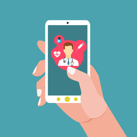 Mobile health with hand hand holding smartphone Stok Fotoğraf - 42785820