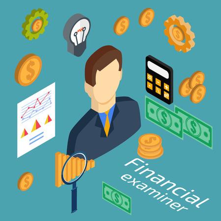 examiner: Examining economic statistic, web analytics. Financial examiner. Vector illustration. Illustration