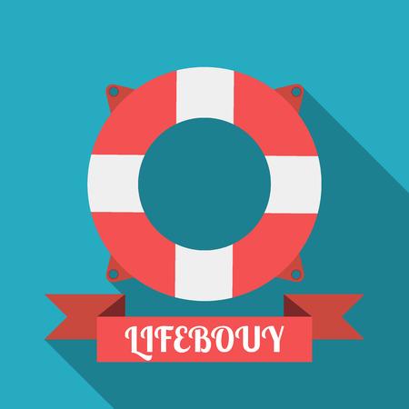Lifebouy icon flat style. lifebouy poster Illustration