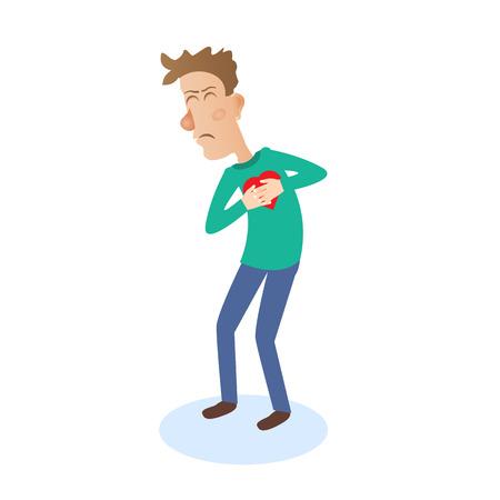 ataque al corazón: Hombre joven con un fuerte ataque al corazón. Ilustración del vector. Vectores