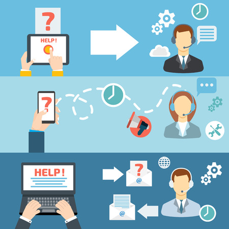 Technical support call center contact flat banner set vector illustration Vectores