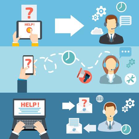 iletişim: Teknik destek, çağrı merkezi kontak düz afiş kümesi vektör çizim