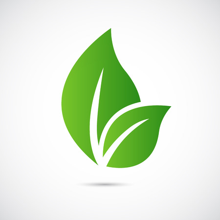 ECO: Abstract leafs care vector logo icon. Eco icon with green leaf