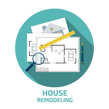 homeowner: house remodeling icon Illustration
