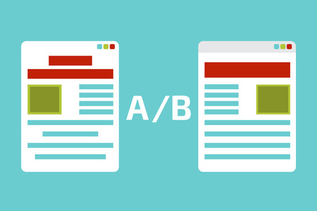 the test: A-B comparison. Split testing. Concept  vector illustration