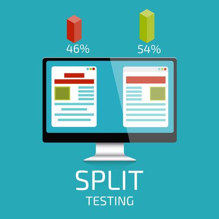 A-B comparison. Split testing. Concept with desktop computer vector illustration