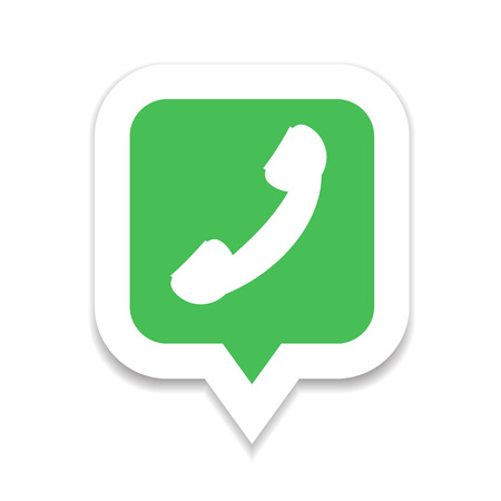 friend nobody: Green and red phone handset icon in bubble speech set Illustration