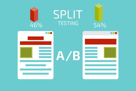 A B を比較します。分割テストします。概念ベクトル図