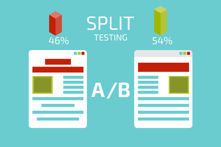 split: A-B comparison. Split testing. Concept  vector illustration