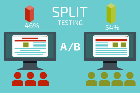 tests: A-B comparison. Split testing. Concept with desktop computer vector illustration