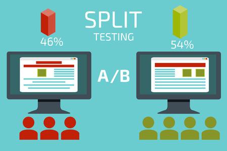 Comparación AB. Pruebas de Split. Concepto con la ilustración de la computadora de escritorio de vectores