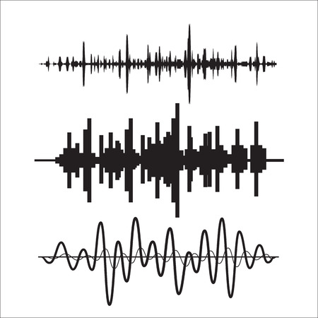 wave icon: Vector sound waves set