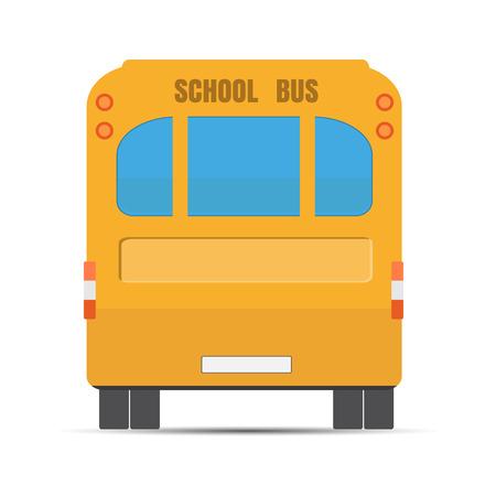 School yellow bus. Yellow bus rear