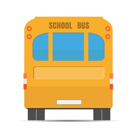 public schools: School yellow bus. Yellow bus rear