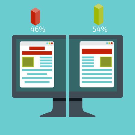 test: A-B comparison. Split testing. Concept with desktop computer vector illustration