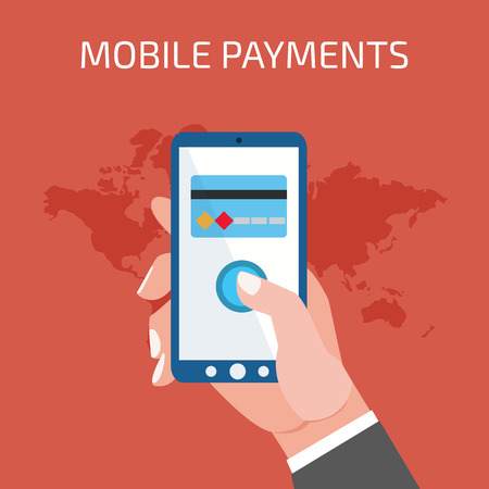 hand phone: Mobile payment concept. Man holding phone. Flat style Illustration