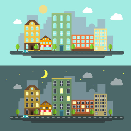 corporate buildings: urban landscape flat style night and day Illustration
