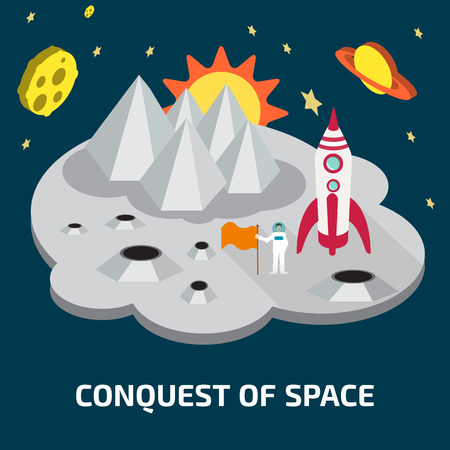 conquest: Conquest of space of the Moon.  Space isometric elements. Illustration