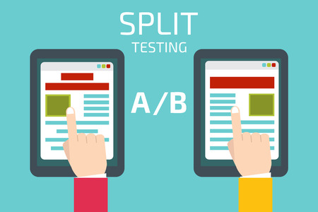A-B comparison. Split testing. Concept with tablet computer vector illustration Çizim