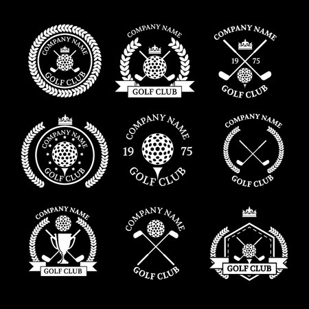 Golf club logos set of templates.Vector logotype design. White Golf club logo color on black background. Vettoriali