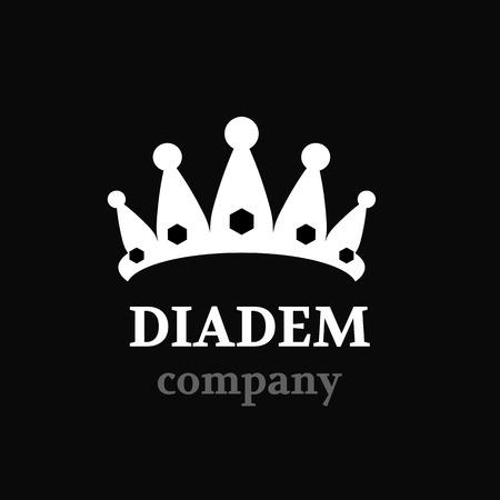 beauty pageant: Diadem vector silhouette icon. Diadem logo company.