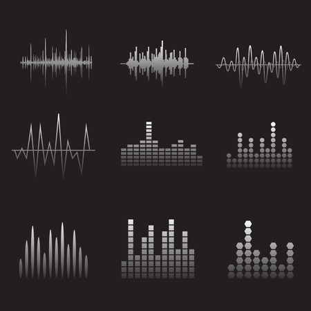soundwave: Sound Wave Icon Set. Iconos soundwave M�sica establecen. Igualar audio y sonido est�reo, onda, melod�a. Ilustraci�n del vector. Vectores