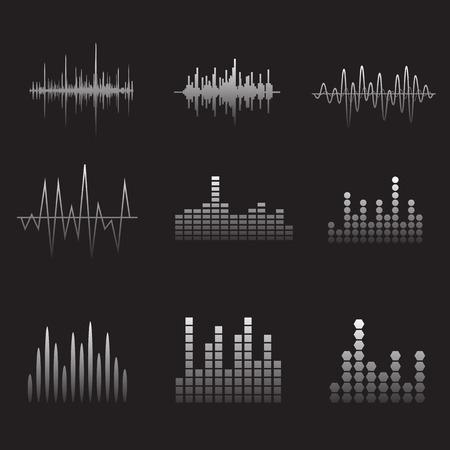 equalize: Sound Wave Icon Set. Music soundwave icons set. Equalize audio and stereo sound, wave, melody. Vector illustration. Illustration