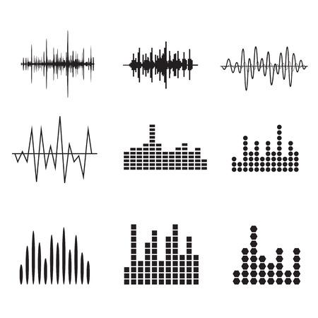 Sound Wave Icon Set. Iconos soundwave Música establecen. Igualar audio y sonido estéreo, onda, melodía. Ilustración del vector.