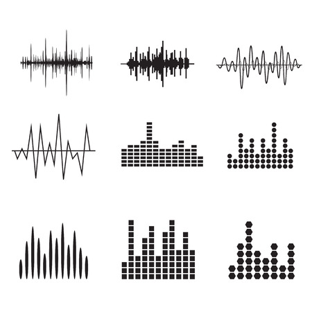 Sound Wave Icon Set. Music soundwave icons set. Equalize audio and stereo sound, wave, melody. Vector illustration. Çizim