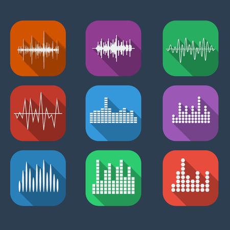 equalize: Sound Wave Icon Set Color flat style. Music soundwave icons set. Equalize audio and stereo sound, wave, melody. Vector illustration.