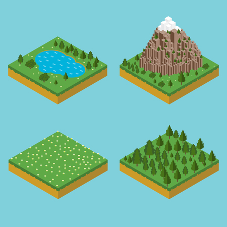 pre: Isometric landscape seamles. Pre assembly isometric