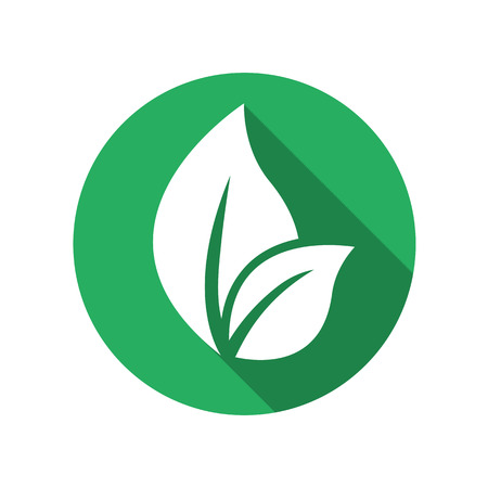 eco icon: Abstract leafs care vector logo icon. Eco icon with green leaf